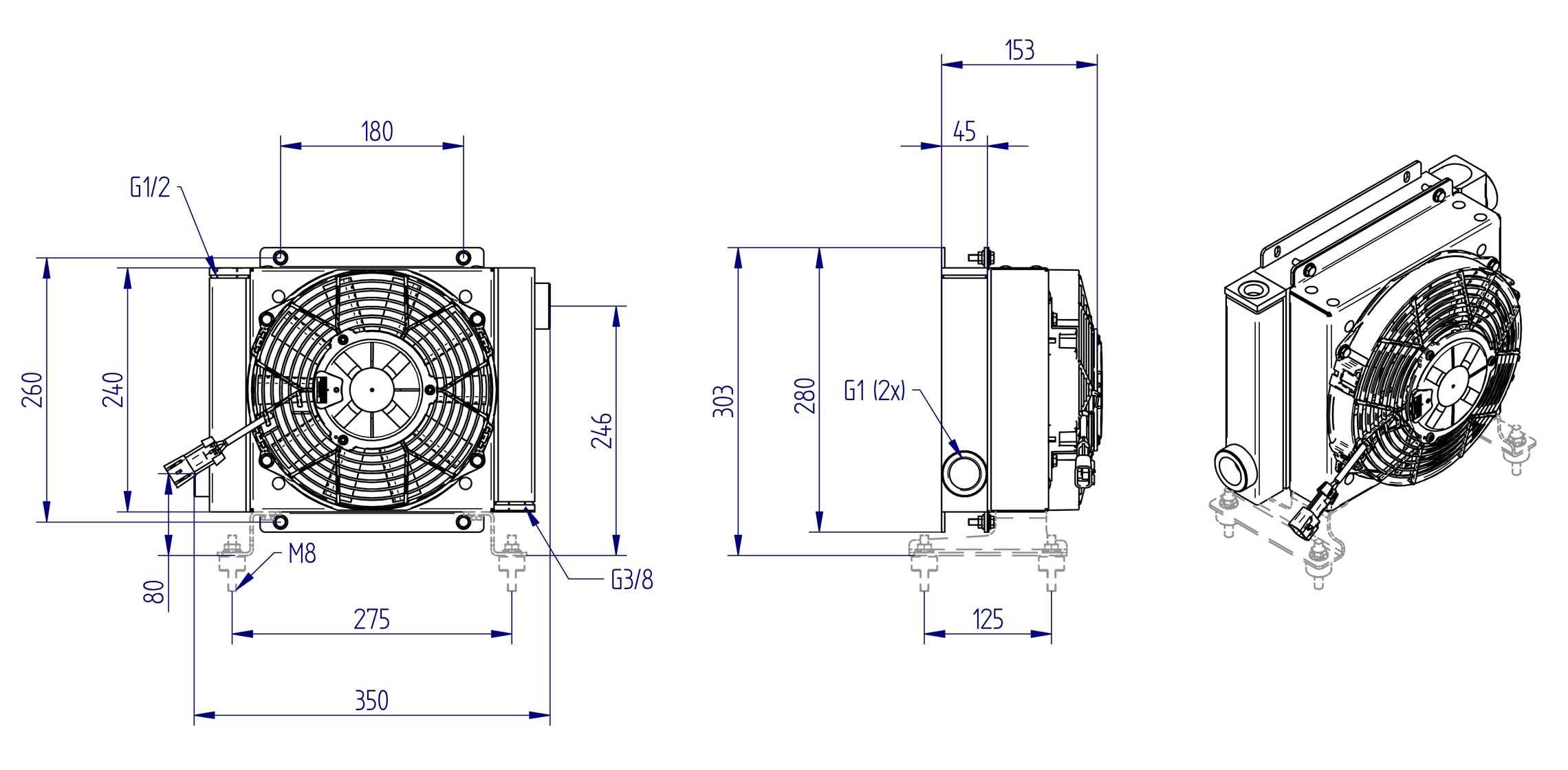 Oljynlauhdutin Oesse HY01601 kaavakuva