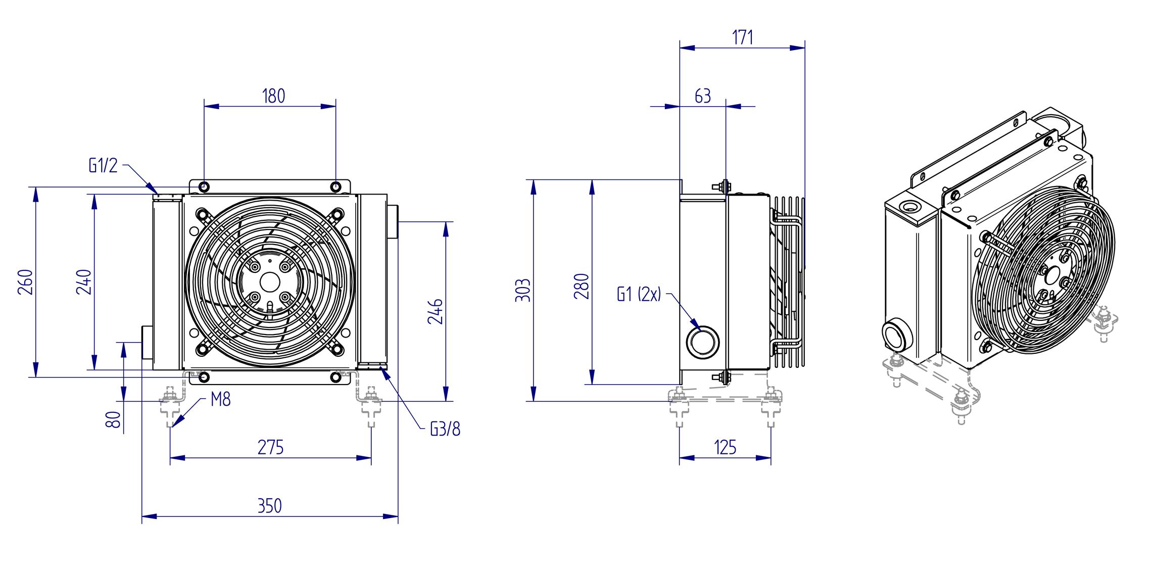 Oljynlauhdutin Oesse HY01801 kaavakuva