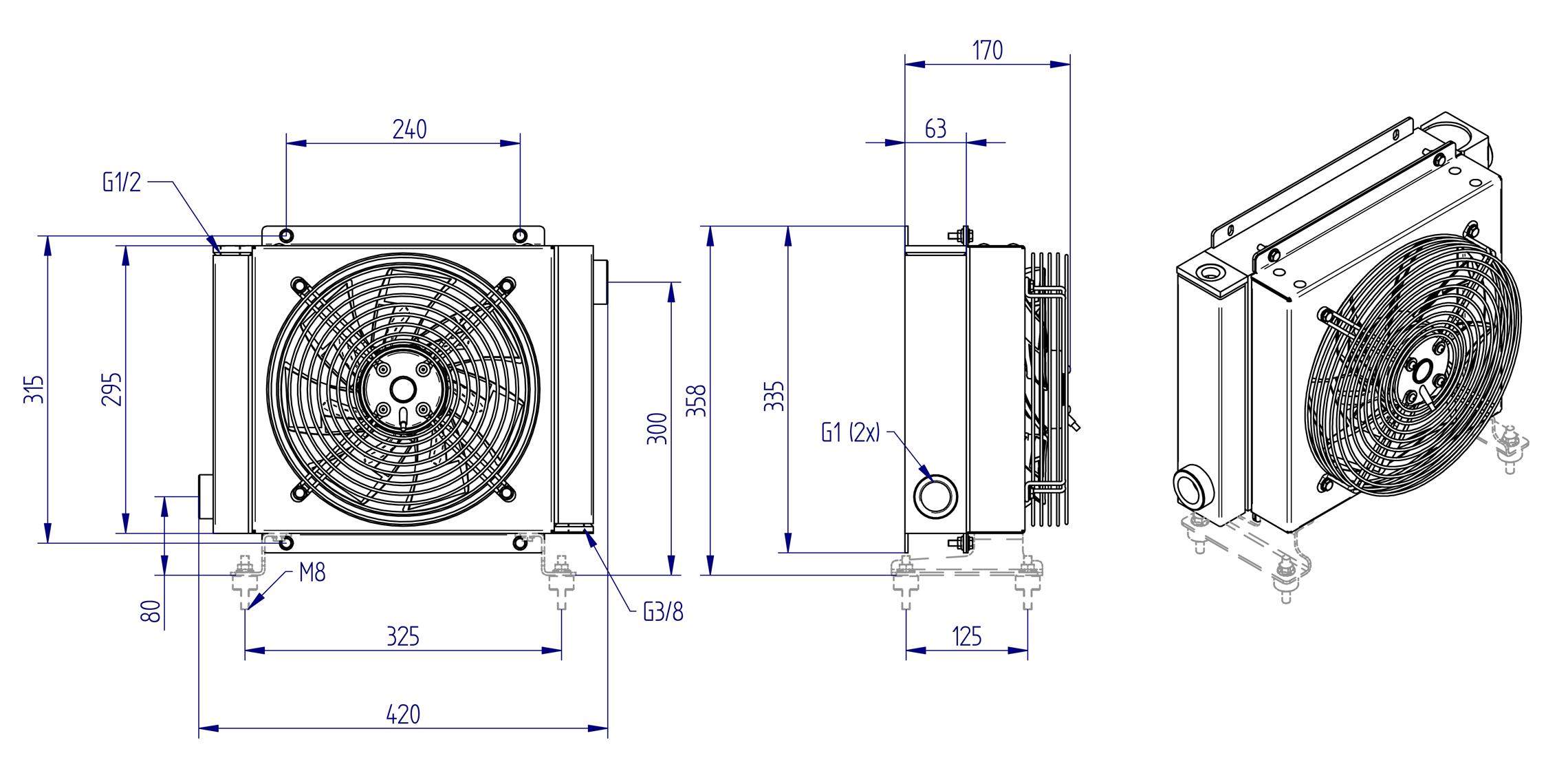 Oljynlauhdutin Oesse HY02401 kaavakuva