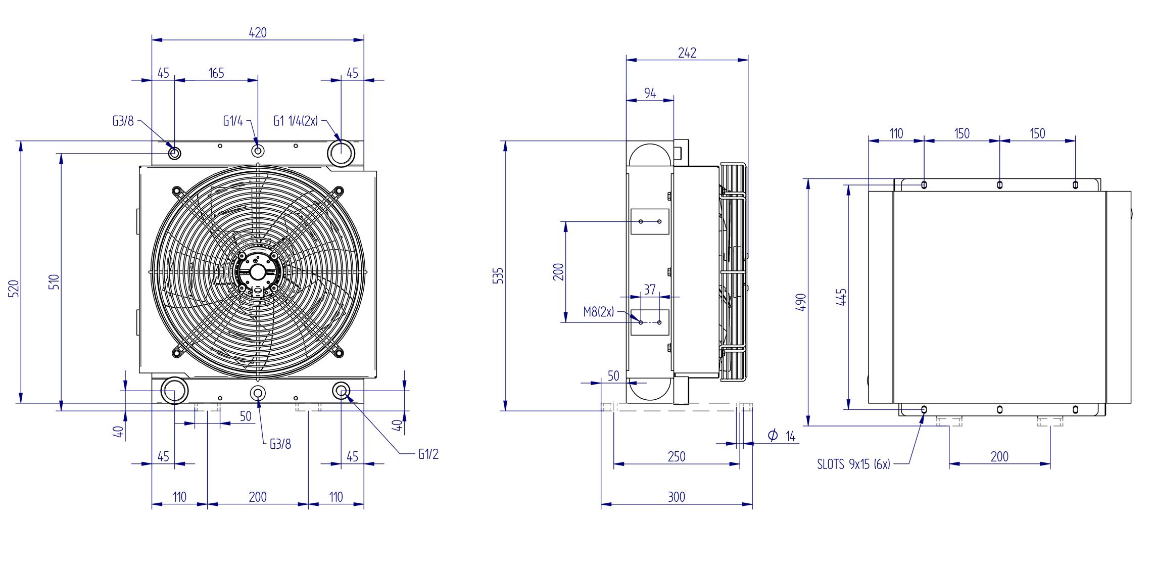 Oljynlauhdutin Oesse HY21503 kaavakuva