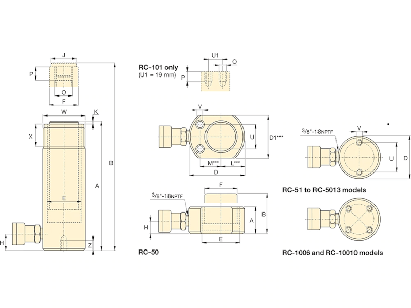 Enerpac RC102 Sylinteri, 10T 700bar kaavakuva