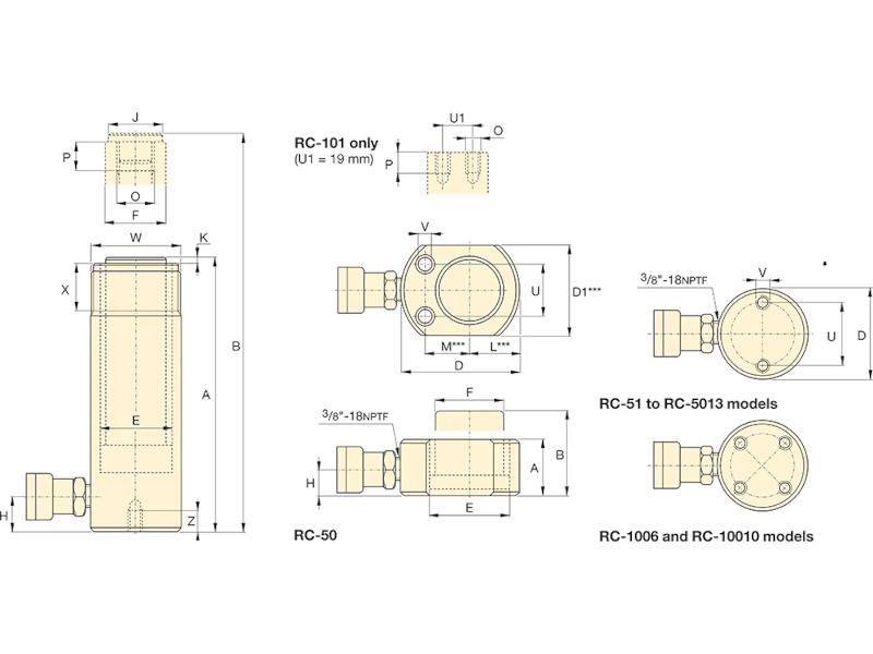 Enerpac RC502 Sylinteri, 50T 700bar kaavakuva