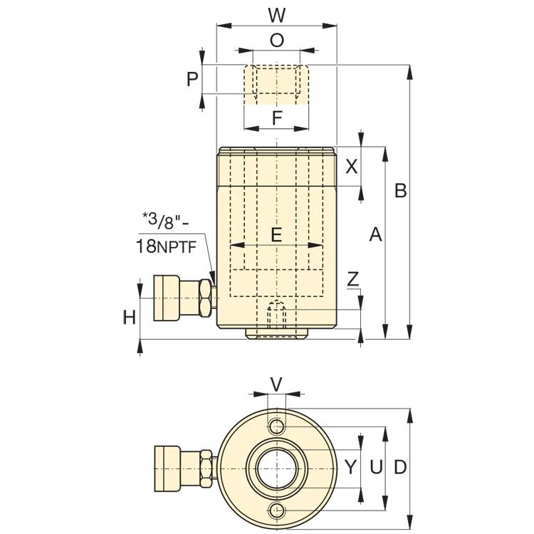 Enerpac RCH123 Reikämäntäsylinteri, 12T 700bar kaavakuva
