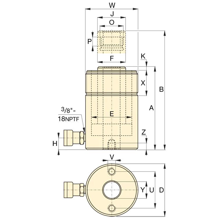 Enerpac RCH202 Reikämäntäsylinteri, 20T 700bar Kaavakuva