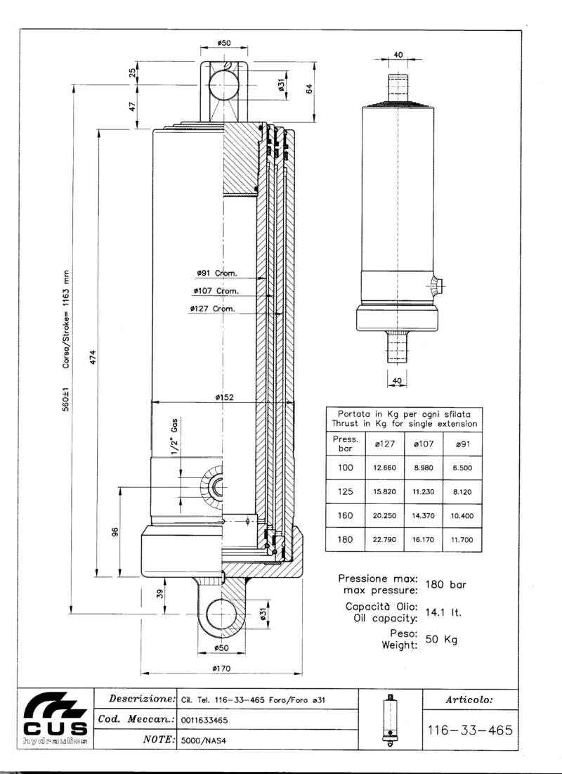Teleskooppisylinteri NAS4, 1140