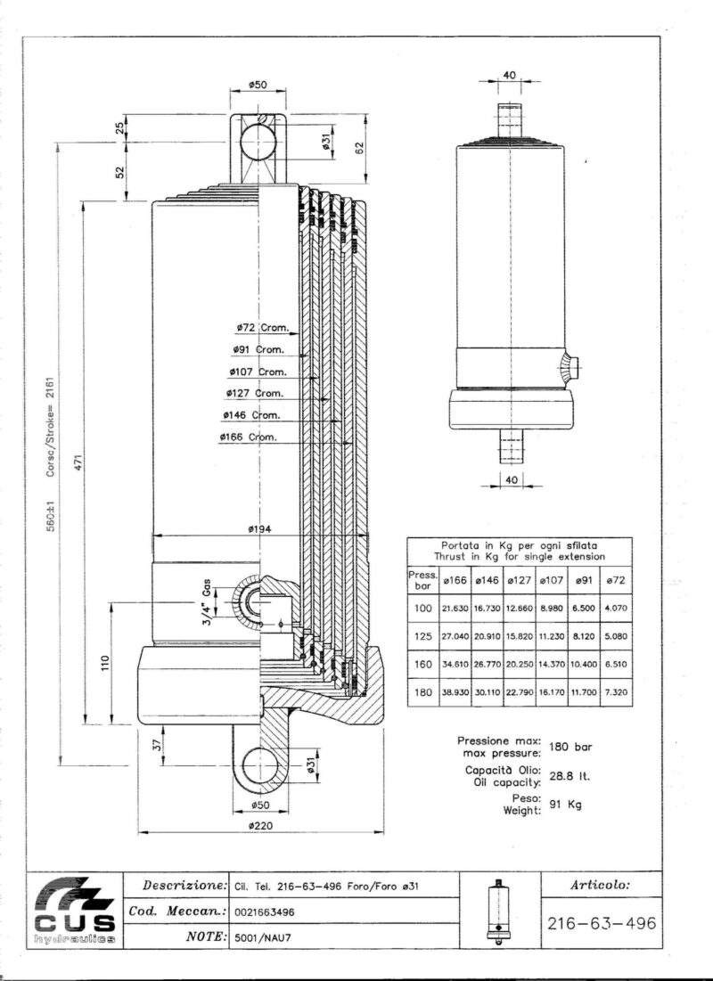 Teleskooppisylinteri NAU7, 2171