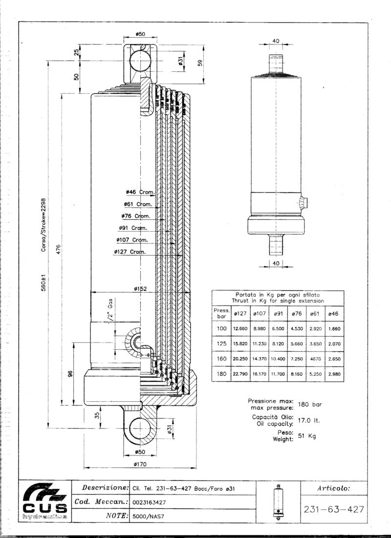 Teleskooppisylinteri NAS7, 2306