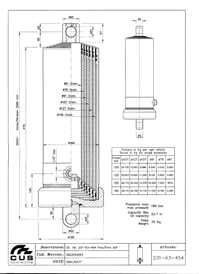 Teleskooppisylinteri NAT7, 2275