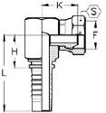 Letkuliitin BSP-sisäkierteellä 90 asteen kulma matala