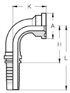 Letkuliitin SAE-laippaliitin, 90-astetta 6000 psi kaavakuva